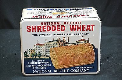 Old Vintage Advertising Ad Shredded Wheat Nabisco Biscuit Co Litho Metal Tin Can