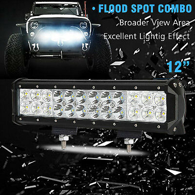 72W 12inch Spot Flood Combo CREE LED Work Light Bar Driving OffRoad SUV Boat ATV