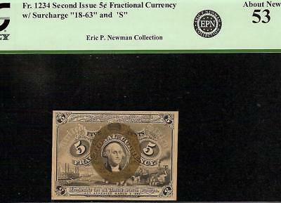 5 CENT FRACTIONAL CURRENCY NOTE 1863-1867 PAPER MONEY BETTER Fr 1234 PCGS 53