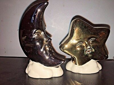 Vintage Collectible STAR & MOON salt and pepper shakers Vandor Imports JAPAN