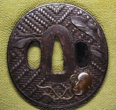 "Rare motif TSUBA 18-19th C Japanese Edo Antique Koshirae fitting ""Noh mask"" e169"