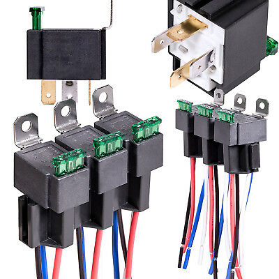 6Pack 12V 30A Fuse Relay Switch Harness Set SPST 4 Pin 14 AWG Hot Wires