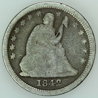1842 Seated Quarter! Vg Details! 25C! Us Coin Lot #6338
