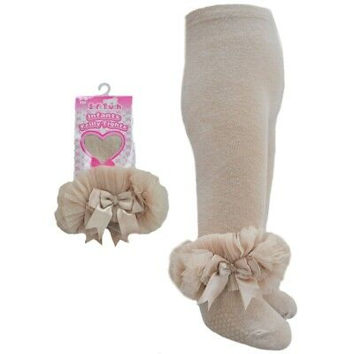 Baby Girls Frilly & Bows Beige Cotton Rich Tights Romany Style by Soft Touch