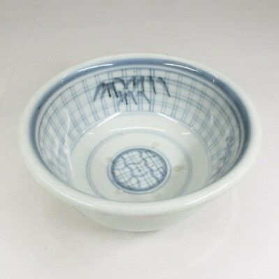 H580: Japanese OLD IMARI blue-and-white porcelain bowl with good bamboo painting