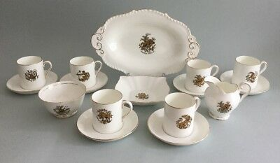 Royal Chelsea Zodiac Demitasse Coffee Cups Saucers X 6 Sugar Milk Serving Dish