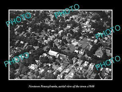 OLD LARGE HISTORIC PHOTO OF NEWTOWN PENNSYLVANIA, AERIAL VIEW OF THE TOWN c1940