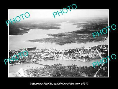 OLD LARGE HISTORIC PHOTO OF VALPARAISO FLORIDA, AERIAL VIEW OF THE TOWN c1940