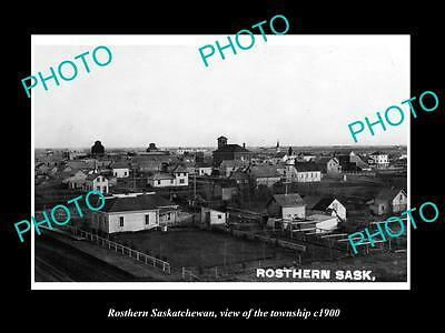 OLD LARGE HISTORIC PHOTO OF ROSTHERN SASKATCHEWAN, VIEW OF THE TOWNSHIP c1900