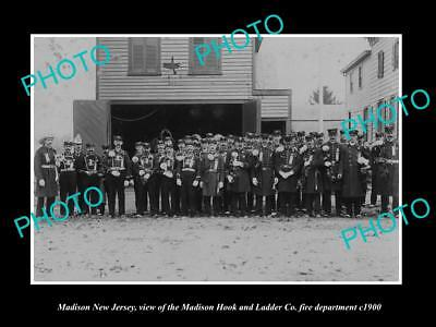 OLD LARGE HISTORIC PHOTO OF MADISON NEW JERSEY, THE FIRE DEPARTMENT CREW c1900