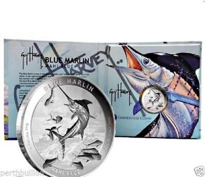 1 oz silver coin - 2015 Marlin Proof-like medallion - Guy Harvey designed .999