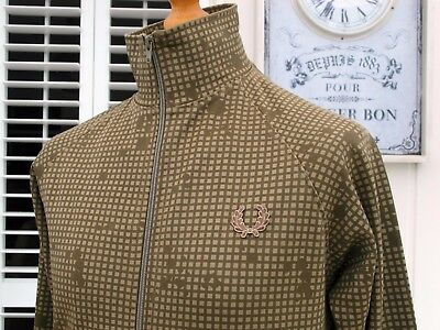 Fred Perry Olive/Khaki Check Track Jacket - S/M - Ska Mod Scooter Casuals Skins