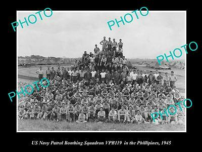 Old Large Historical Photo Of Us Navy Bombing Squadron In The Phillipines 1945
