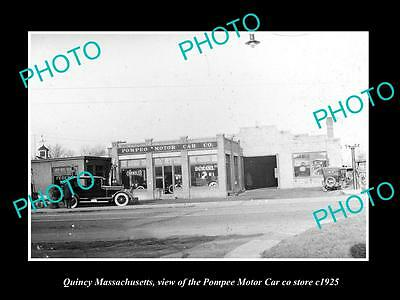 OLD LARGE HISTORIC PHOTO OF QUINCY MASSACHUSETTS, THE POMPEO MOTOR CAR Co c1925