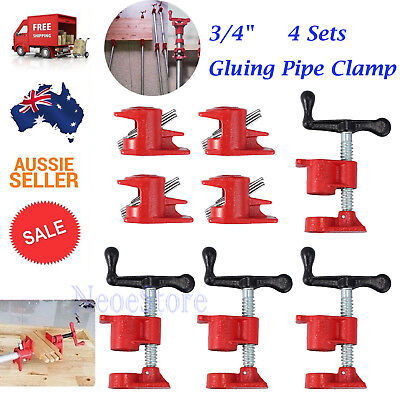 """4 Set 3/4"""" Industrial Wood Gluing Pipe Clamp Set Heavy Duty Woodworking Cast"""