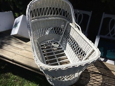 Vintage Wicker-Cane Baby Moses Basket Perfect For Dolls Or Toys