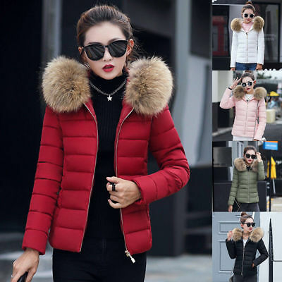 UK Womens Winter Warm Down Cotton Jacket Slim Short Fur Collar Parka Hooded Coat