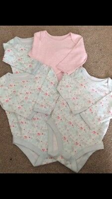 4x Baby Girls long sleeved Vests M&S Marks And Spencer 9-12 Months