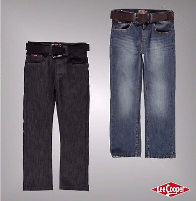 Junior Boys Lee Cooper Belt Cotton 5 Pockets Belted Straight Jeans Age 7-13 Yrs