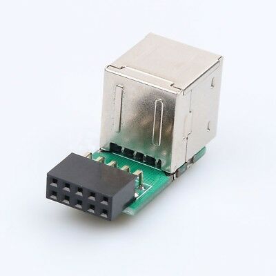 A Female Internal Header Adapter 9Pin Motherboard to Double Layer 2 Ports USB2.0