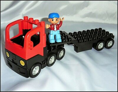 Lego Duplo Flatbed Truck / Semi Truck with Driver
