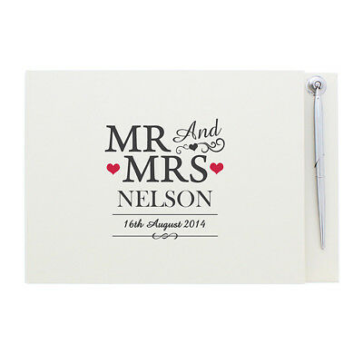 Personalise Mr & Mrs Guest Book  Pen Wedding Anniversary Engagement Christening