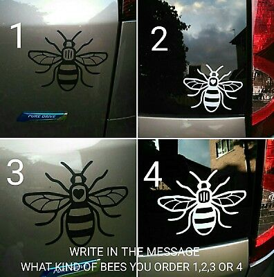 Manchester bee car sticker White or Black 145mm x 115mm. BUY 2 GET 1 FREE