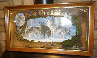 Lovely Vintage 1990 Pabst Blue Ribbon Beer Timber Wolf Mirror! Wildlife!