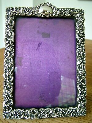 """Hm1900 Solid Silver Photo Picture Frame 5"""" X 3.5""""  Easel Back Antique Victorian"""