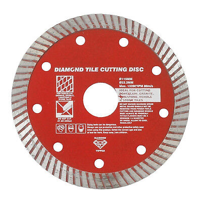 "115mm 4.5"" Diamond Tipped TILE Turbo CUTTING DISC Angle Grinder Blade 22mm Core"