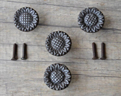 Vintage Floral Cast Iron cabinet drawer door Knobs handles pull Rustic 4pcs Lot