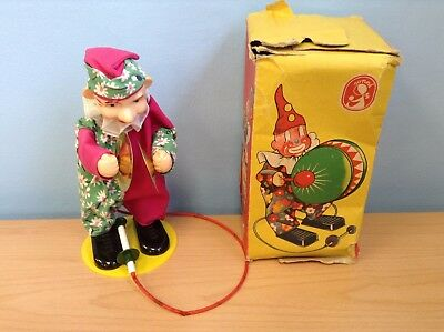 Vintage German SONNI Clown Playing Cymbals Toy Spring Cable + Original Box