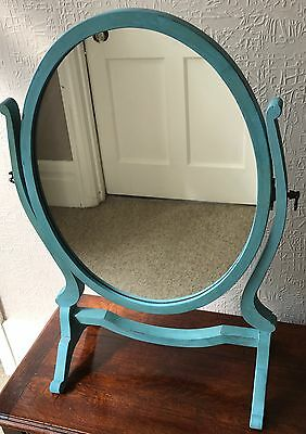 Edwardian swing mirror on stand finished in shabby chic teal blue