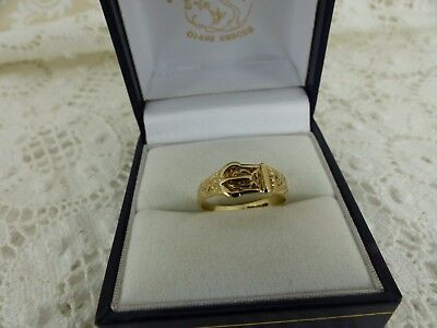 VIntage Style Lady's Child's 9ct 9carat Yellow Gold Buckle Ring, Size I