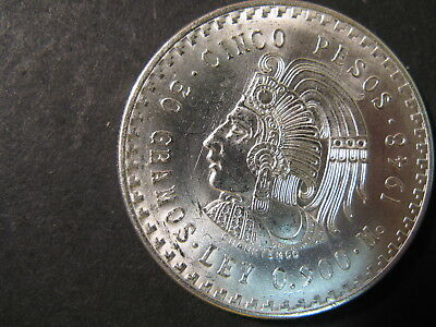 Mexico, Silver 5 Pesos Coin Dated 1948, Uncirculated, Nice