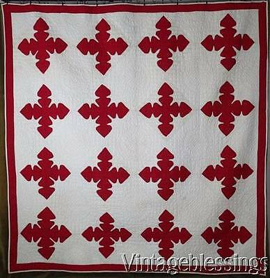 """Fantastic! c1900 Red & White Reverse Applique QUILT 85x83"""" Never Used/washed"""
