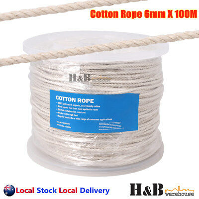 6mm x 100M Cotton Rope 100% Natural Cord 3 Strand Twisted Reel Top Quality F0017