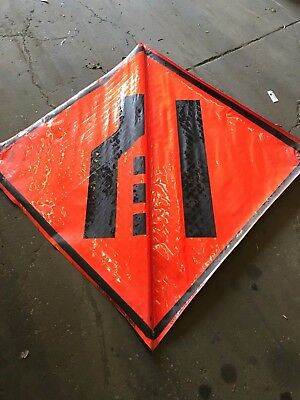 Left Lane Reduction Symbol Fluorescent Vinyl With Ribs Road Sign 48 X 48