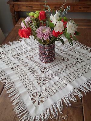 Intricate TENERIFE LACE Antique White Tablecloth Beautiful Handwork