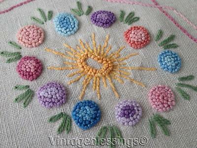 """Antique c1920s Embroidered Flowers LINEN Small Tablecloth 34 1/2"""" x 33 1/4"""""""