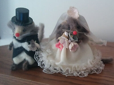 Vintage Real Fur Mouse Bride and Groom Set w/Label W. Germany