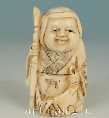 Japan bone Collection Handmade Carved Woman Statue Figure Decoration