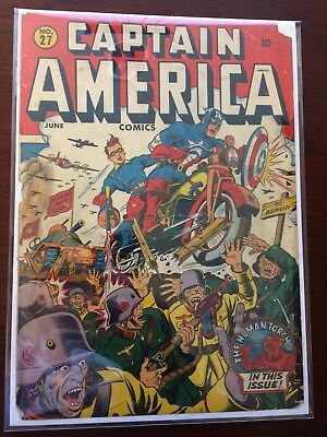 Captain America Comics 27 Front Cover Only - Classic Schomburg Cover