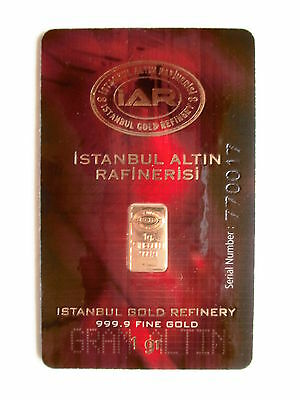 1g Goldbarren, IAR Turkey, 999,9/1000 Fine Gold, im Blister !!!