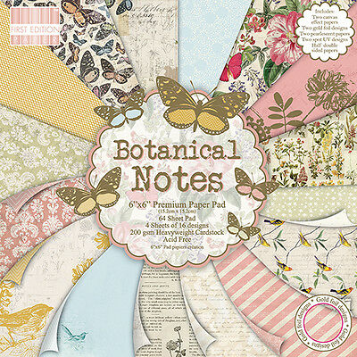 """BOTANICAL NOTES - First Edition Papers - 6""""x6"""" Paper Pad"""