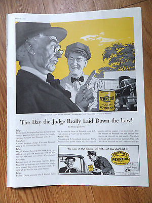 1959 Pennzoil Oil Ad  Day the Judge Laid Down the Law