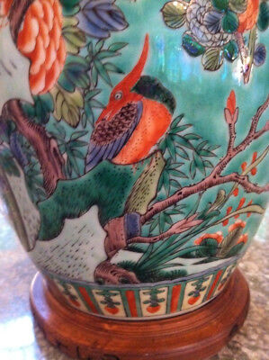 ANTIQUE CHINESE LAMP - Qing Dynasty? FAMILLE VERTE COVERED JAR drilled for LAMP