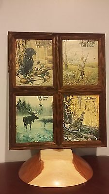 Original LL bean catalog covers (4 -1979,80,81 & 82) in crafted wooden frame