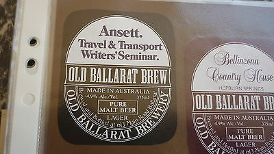 Old Australian Beer Label, Old Ballarat Brewery, Ansett Seminar