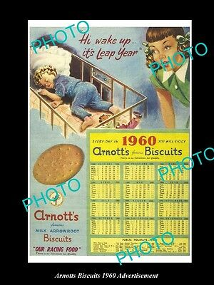 Old Large Historic Australian Arnotts Biscuits Advertisement Photo, 1960